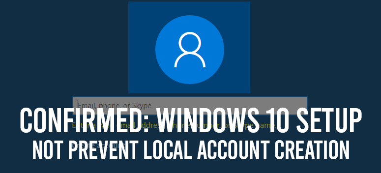 Windows 10 Local Account Setup
