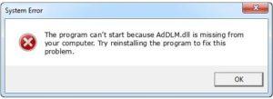 AdDLM.dll MISSING ERROR
